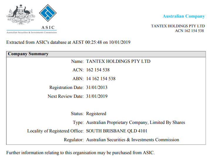ASIC Records of TANTEX HOLDINGS PTY LTD
